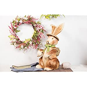 Evertrust Artificial Easter Spring Summer Seasonal Silk Flower Wreath Wall Door Hanging Decorations, 22 inches wreath 113
