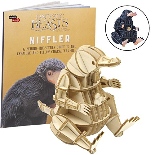 "Fantastic Beasts and Where to Find Them Niffler Book and 3D Wood Model Figure Kit - Build, Paint and Collect Your Own Wooden Toy Model - Great for Kids and Adults, 8+ - 3"" h from IncrediBuilds"