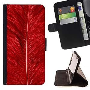 BullDog Case - FOR/HTC One M7 / - / feather red bird nature bright nature /- Monedero de cuero de la PU Llevar cubierta de la caja con el ID Credit Card Slots Flip funda de cuer