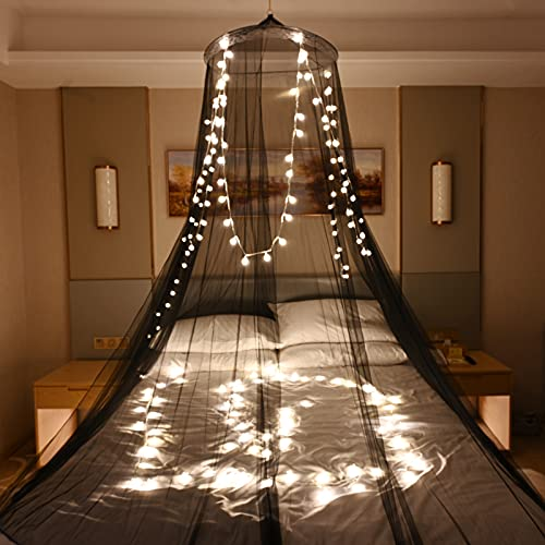 Skyteelor Mosquito Net for Bed,Dream Bedspread with 100 Led Lights, Beautiful Bed Canopy for Children, Girls, and Adults, 1 Entry,for Single to King Size Bed Curtain,Mysterious Black
