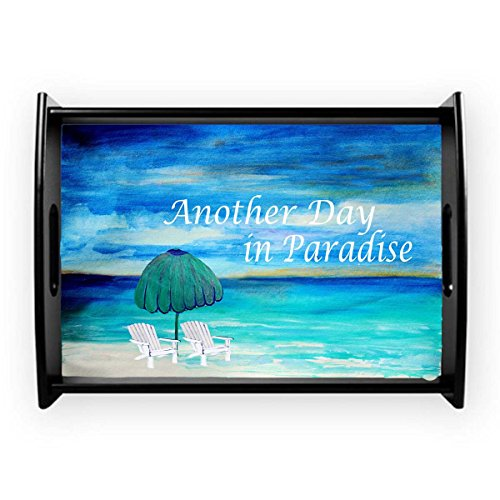 (Another day in paradise beach coastal home serving tray (Black wood frame, 11x17))