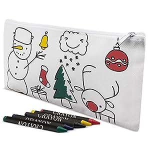 Pack 25 Estuches colegio-detalles de Navidad, 4 Ceras Incluidas - Estuches para Colorear Niños Infantiles Manualidades con pinturas. Regalos de ...