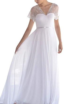 Lastbridal Women Double V Neck Chiffon Short Sleeves Beach Wedding