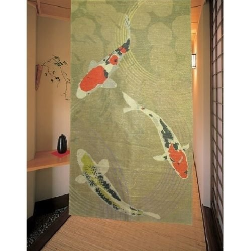 JAPANESE Noren Curtain NEW KIMONO KOI FISH MADE IN JAPAN (Koi Fish Window Curtains)