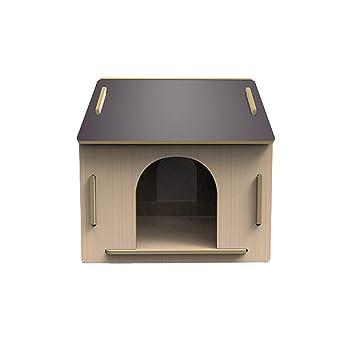 Caseta para Mascotas en el Nido de Madera al Aire Libre en la Perrera Grande Teddy Wo Dog House Cuatro Estaciones Universal - Grande - Registro Gris: ...