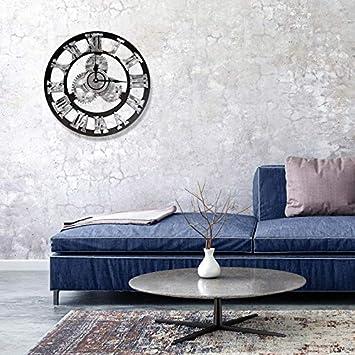 Vintage Horloge Murale Industriel Silencieuse Pendule Murales D/écoration Maison Mural S, Gold Rameng