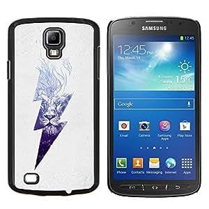 Caucho caso de Shell duro de la cubierta de accesorios de protección BY RAYDREAMMM - Samsung Galaxy S4 Active i9295 - león rayo de alta tensión azul peligro