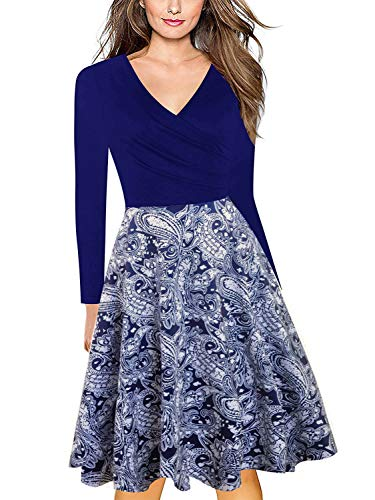 - Demetory Women's Criss-Cross Necklines V-Neck 3 4 Sleeve Floral Casual Knee Length High Waist Damask Wrap Dress with Pocket Dark Blue X-Large