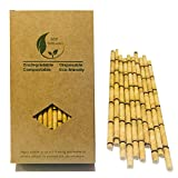 Yellow Bamboo Drinking Paper Straws to Replace Plastic Straws, 100 Count 100% Organic Environmentally Friendly Bamboo Straws