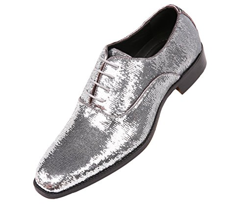 Bolano Mens Sequin Plain Toe Oxford Dress Shoe with Black Sole Style Quin Silver sale cheap cheap buy authentic X9nYS1t
