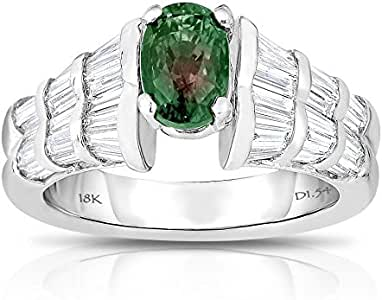 Unique Royal Jewelry 18K White Gold, High Natural Alexandrite and Diamond Ring