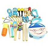 Musical Instruments Best Deals - DEHANG 16 Piece Wooden Roll Drum Musical Toy Instruments for Kids Children and Baby Gift Set - Blue