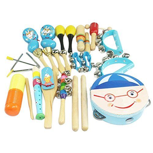 Happy Cherry Wooden Roll Drum Musical Toy Instruments Kit for Kids Children and Baby Gift Set 16 Pieces - Blue