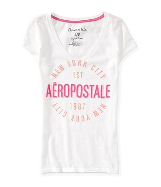 fcb84ebd Amazon.com: Aeropostale Womens New York City Circle Basic T-Shirt ...
