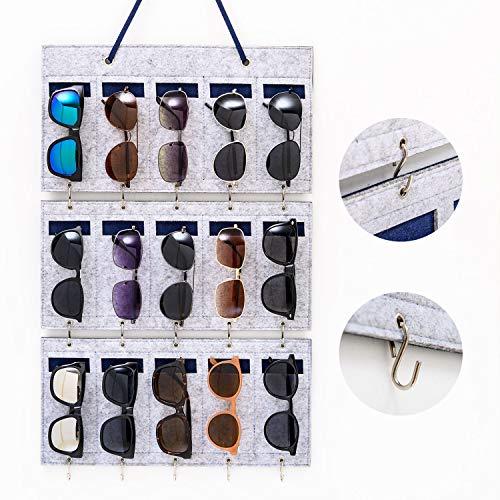 BOKENTO Sunglasses Organizer Storage, Upgraded Detachable Hanging Eyeglasses Holder Wall Pocket Mounted, Eyewear Display, 15 Felt Slots with Hooks for Keys and Sturdy Rope (Grey)