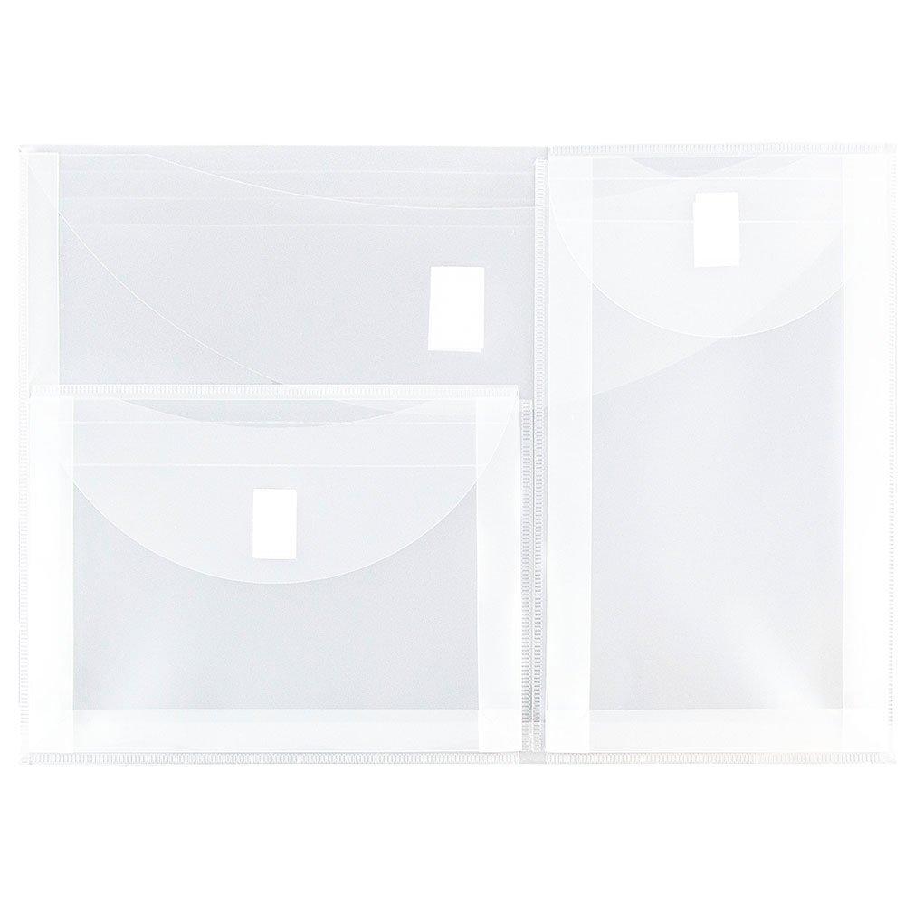 JAM PAPER Plastic Multi Pocket Envelopes with Hook & Loop Closure - 3 Pockets - Letter Booklet - 9 3/4 x 13 - Clear - 12/Pack