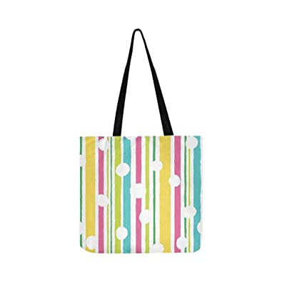 6268e06f76fa Amazon.com  Vertical Stripes Bright Colors Canvas Tote Handbag ...