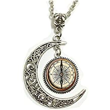 Bonlting Steampunk Compass Pendant, Steampunk Compass Necklace,vintage Compass Moon Jewelry, Moon Necklace Glass Art Picture