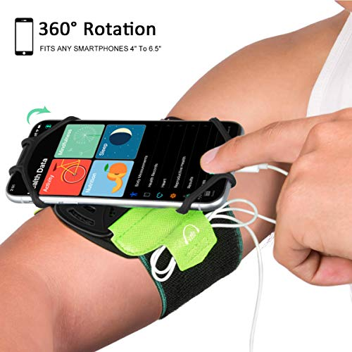 Acokki Running Armband, 360° Rotatable Cellphone Sweatproof Arm Band Strap Built-in Key Holder for Workout Running Hiking Biking Compatible with iPhone Android