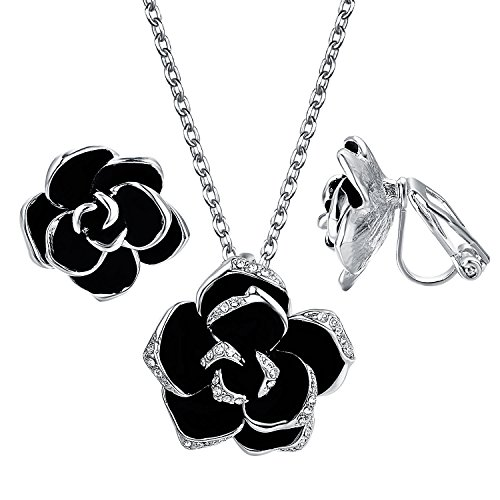 Yoursfs Bridal Jewelry Set 18K White Gold Plated Black Enamel Necklace Rose Flower Clip on Earrings