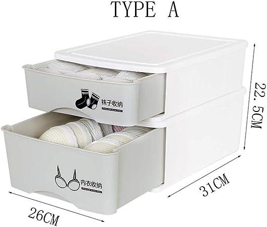 Bobo Sujetador de Ropa Interior Caja de Calcetines Poner Ropa Interior de Almacenamiento Caja de Almacenamiento de 2 Capas Armario de plástico Caja de Acabado de cajones (Color : A): Amazon.es: Hogar
