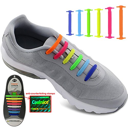 No Tie Shoelaces for Men and Women - Best in Sports Fan Shoelaces – Waterproof Silicon Flat Elastic Athletic Running Shoe Laces with Multicolor for Sneaker Boots Board Shoes and Casual Shoes (Rainbow)