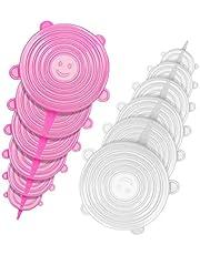 Tapas de silicona elásticas, iTrunk Fundas de silicona para alimentos Paquete de 12 tamaños de diferentes tamaños Tapas de silicona para alimentos, Tapas de sellado para vasos en la copa