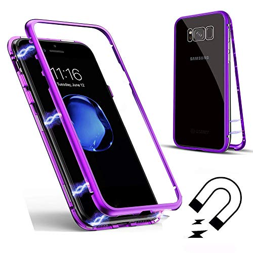 (Magnetic Case for Samsung Galaxy S7 Edge, SevenPanda for Samsung S7 Edge Clear Tempered Glass Back Metal Frame Full Body Slim Fit Ultra-Thin Luxury Transparent Magnetic Case - Transparent + Purple)