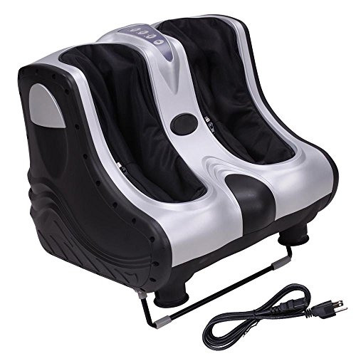 New Foot Massager AW 80W Heat Kneading Rolling Leg Calves Ankle Foot Massager Personal Health Salon Care Silver ABS 2019