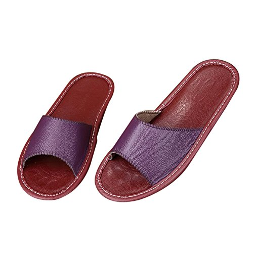 Floor Wooden W Cowhide Smelly Autumn Summer for Men Leather Women Pourpre Slippers TELLW Anti Spring Corium 68zyqf