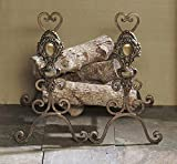 Fireplace Accents - ''Villa Medici'' Andirons - Bronze Iron with Brass Medallions - Fire Place Andirons