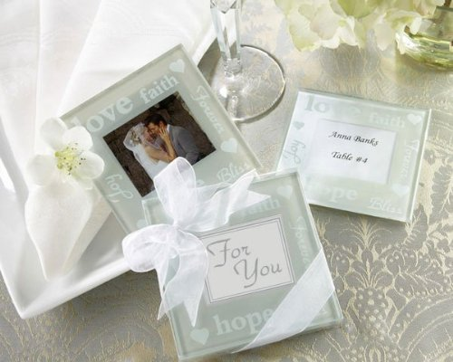 - Kate Aspen Good Wishes Pearlized Glass Photo Coaster (6 Sets of 2, 12 Coasters) - Perfect Table Décor or Party Favors for Weddings, Baby Showers, Bridal Showers or Birthdays