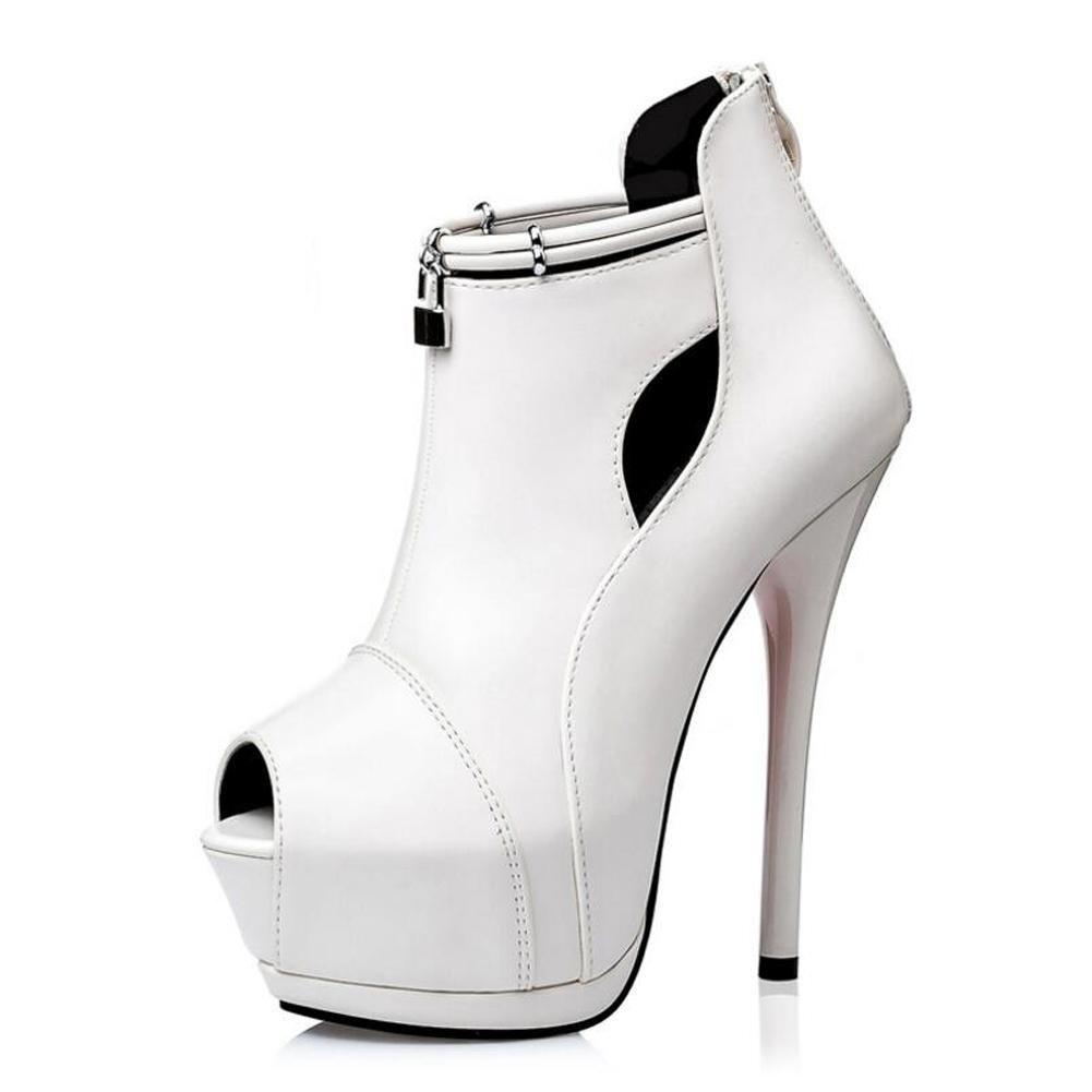 Chaussures à Talons Chaussures Hauts Pour Talons Femmes Sandales Chaussure éTanche à Lacets 14cm Sandales à Bouche Fine white ad1b902 - piero.space