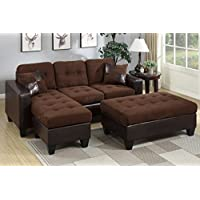 3Pcs Modern Chocolate Plush Microfiber Reversible Sectional Sofa Chaise Ottoman Set with Accent Tufting and Pillows