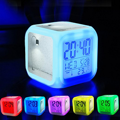 Alarm Clock 7 LED Color Changing Wake Up Bedroom with Data and Temperature Display (Changable Color) Customize the pattern-522.Turned on Black Torchiere Lamp