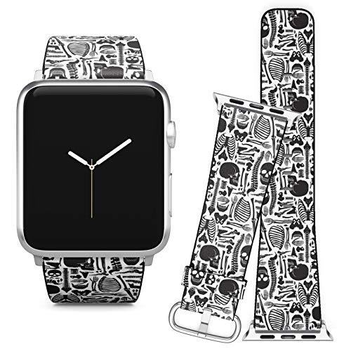 Compatible with Apple Watch (42/44 mm) Series 5, 4, 3, 2, 1 // Leather Replacement Bracelet Strap Wristband + Adapters // Monochrome Human Skeleton