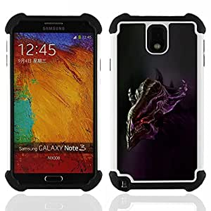 Dragon Case- Dise?¡Ào de doble capa pata de cabra Tuff Impacto Armor h??brido de goma suave de silicona cubierta d FOR Samsung Galaxy Note3 N9000 N9008V N9009- WILD MOVE UFO CARTOON MONSTER ALIEN DRAGON