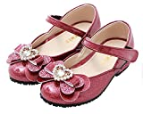 Ozkiz Little Girls Mary Jane Flats Dress Lightweight Shoes Anti-Slip With Ribbon PK 9M