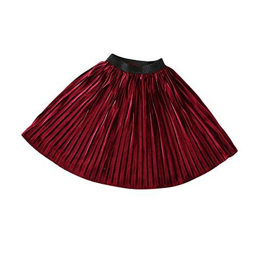 Vestito Vino Lungo Partito Gonna Pieghe Weixinbuy Ragazze A Modello Spiaggia Rosso Da Allentato Piccola FStqnq