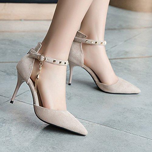Inconnu Pumps Beige Bride Talons Pointu Cheville Clouté Hauts Sandales Femme Aiguille Chaussure Escarpins rqZrB