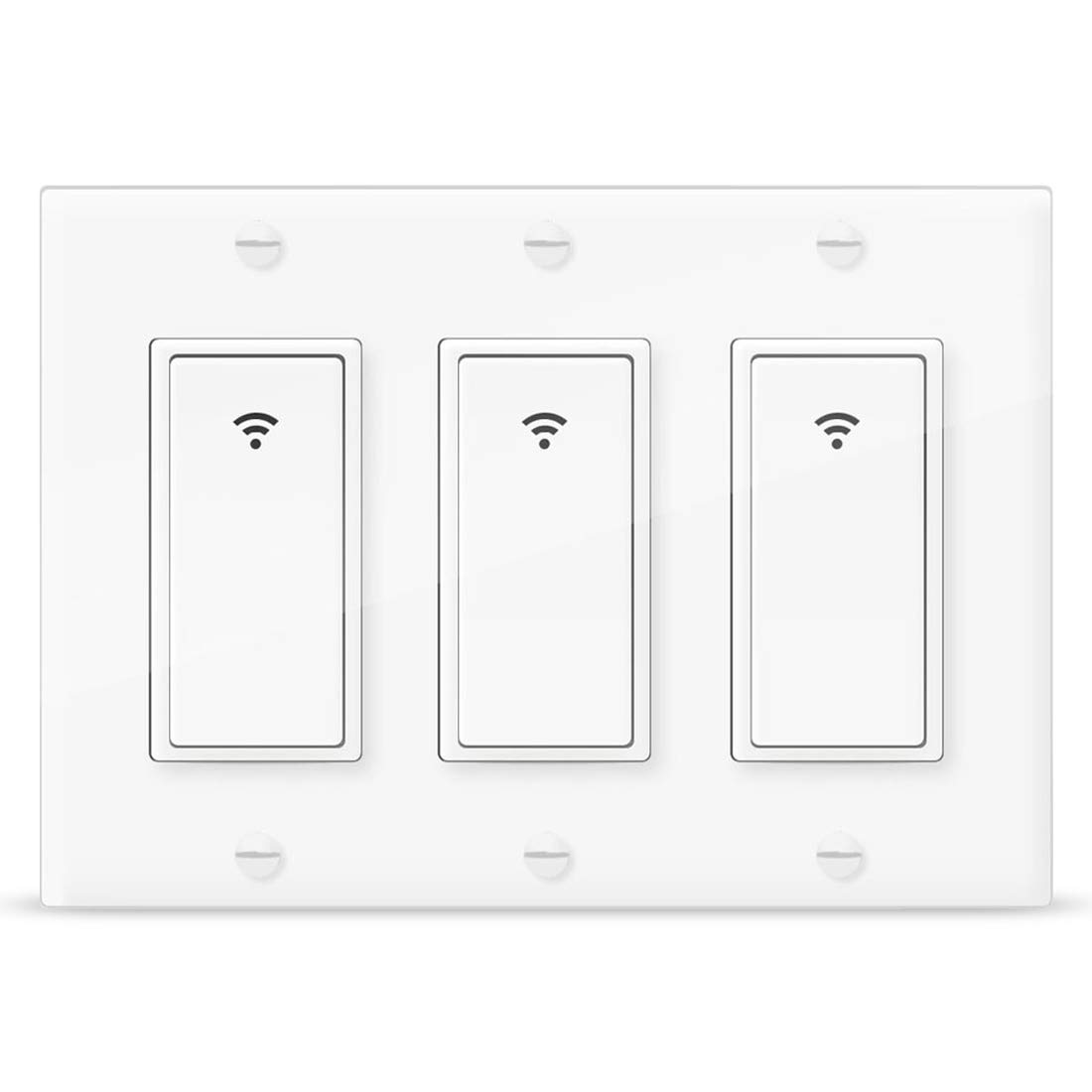 Smart Light Switch,Vaticas 100-240V Smart WIFI Light Switch,Compatible with Alexa,Google Home and IFTTT, With Remote Control and Timer,No Hub required Applicable to Family and Office(3 Gang White)