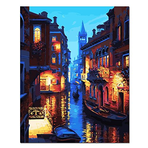 BOSHUN Paint by Numbers Kits with Brushes and Acrylic Pigment DIY Canvas Painting for Adults Beginner- Venice night 16 x 20 inch(Without Frame)