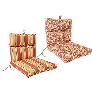Reversible Outdoor French Edge Chair Cushion, Echo Stripe Garnet/Garnet Truf