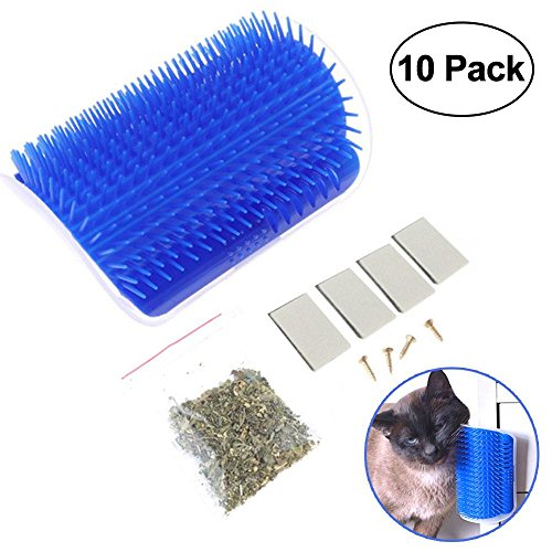 KOBWA Cat Self Groomer Brush, Cat Grooming Hair Removal Brush, Wall Corner Massage Comb with Catnip Cat Toys (Blue)