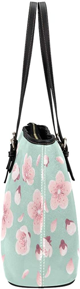 Hands Bags Pink Peach Blossoms In The Park Leather Hand Totes Bag Causal Handbags Zipped Shoulder Organizer For Lady Girls Womens Handbag Women