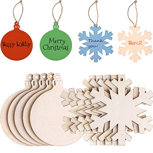 (Tatuo 20 Pieces Unfinished Wooden Christmas Hanging Ornaments, 80 mm Round Blank Wood Discs and Wooden Snowflake Cutouts for DIY Craft Making, Painting, Christmas Decorations)