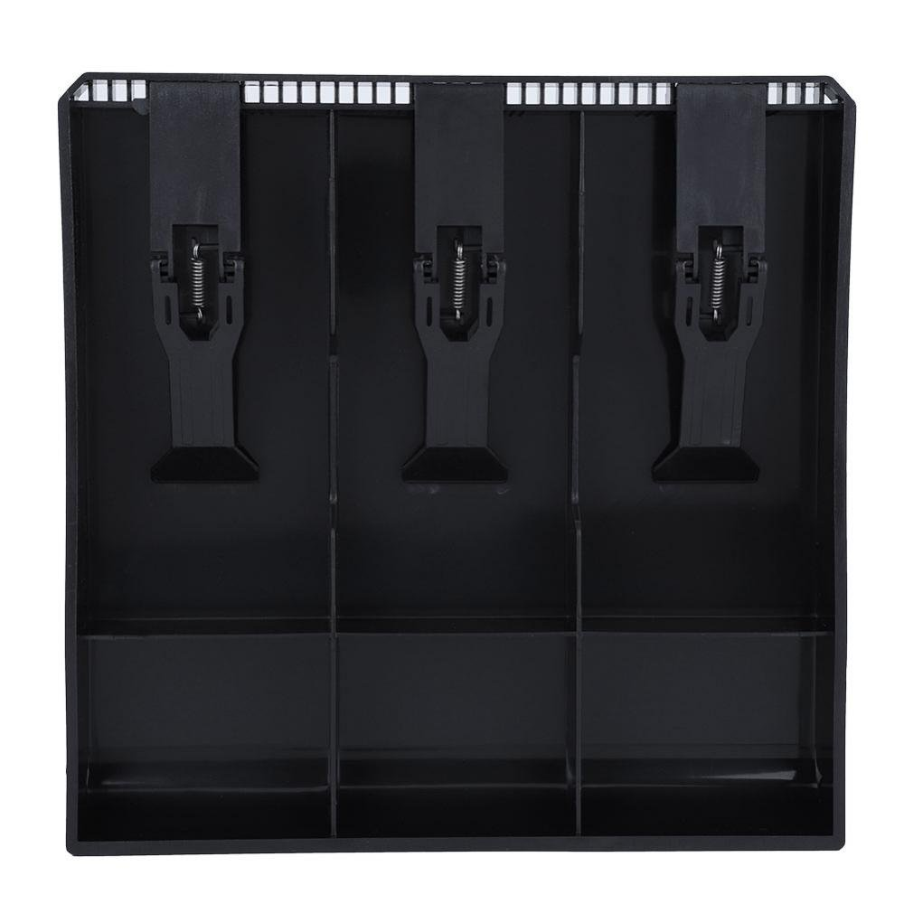 Cash Drawer Register Insert Tray, Replacement 3 Bills 3 Coins Money Storage Box Plastic 9.6 x 9.6 x 1.4inch Black & White(Black) by Walfront