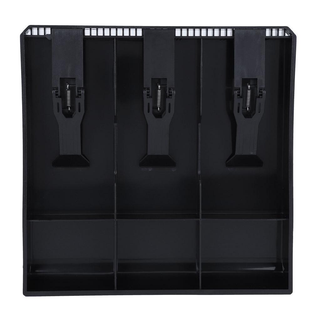 Cash Drawer Register Insert Tray, Replacement 3 Bills 3 Coins Money Storage Box Plastic 9.6 x 9.6 x 1.4inch Black & White(Black)
