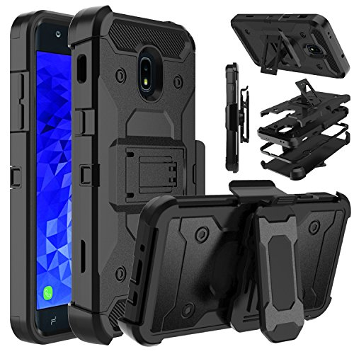 Galaxy J7 2018 Case, Galaxy J7 Star, Galaxy J7 Refine Case, Venoro Shockproof Protection Case Cover with Belt Swivel Clip and Kickstand for Galaxy J7 Aura/Galaxy J7 Crown (Black)