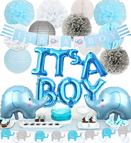 Elephant Baby Shower Decorations Boy Elephant Foil Balloons Garland Banner Baby Elephant It's A Boy Banner for Baby Boy Shower Decorations Set ()